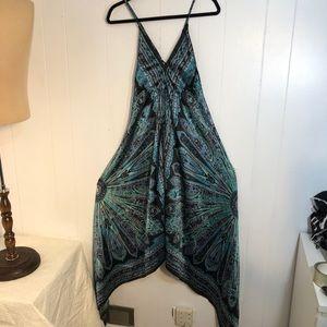 Womens Black/blue Satin Summer Dress. Le Chateau
